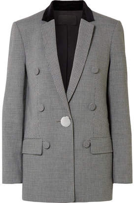 Alexander Wang Velvet And Leather-trimmed Houndstooth Woven Blazer - Gray