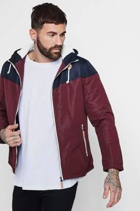boohoo Colour Block Hooded Zip Through Jacket