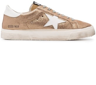 Golden Goose Rose Gold Glitter May leather sneakers