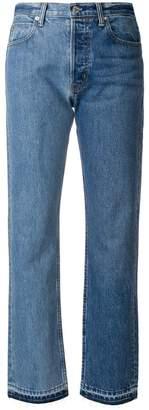 Helmut Lang bicolour raw hem jeans