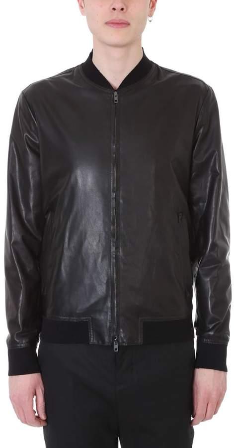 Salvatore Santoro Black Leather Bomber Jacket