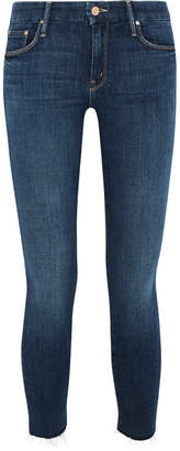 Mother Looker Cropped Frayed Mid-rise Skinny Jeans