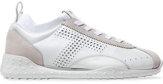 Tod's Leather And Suede Sneakers - White