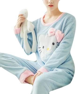 Qiangjinjiu Women s Winter Coral Flannel Velvet Lovely Owl Hooded Pajama Set  M 2d3310a24