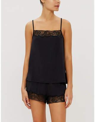 Calvin Klein Black jersey and lace pyjama shorts