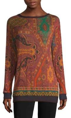 Etro Paisley Knit Crewneck Jersey Top