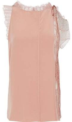 3.1 Phillip Lim Asymmetric Lace-Paneled Tulle-Trimmed Silk Top