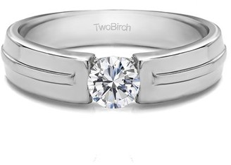 TwoBirch Brilliant Moissanite Mounted in Sterling Silver Brilliant Moissanite Men's Ring with Open End Design(0.41crt)