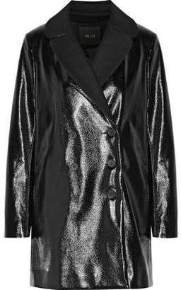 Maje Wool-Blend Felt-Paneled Faux Glossed Textured-Leather Coat