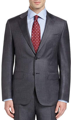 Canali Sharkskin Super 130s Wool Two-Piece Suit, Gray