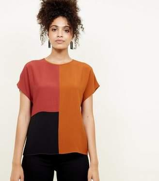 New Look Rust Colour Block T-Shirt