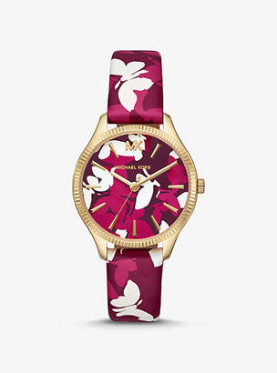 Michael Kors Mini Lexington Gold-Tone And Butterfly Camo Leather Watch