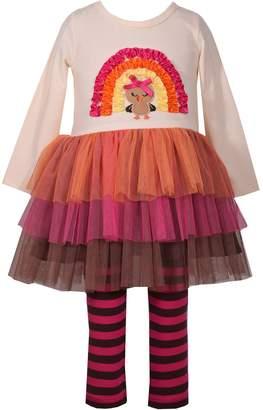 Bonnie Jean Toddler Girl Turkey Dress & Striped Leggings Set