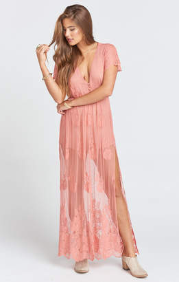 Show Me Your Mumu Alina Maxi Romper ~ Garden Party Lace Terra Cotta