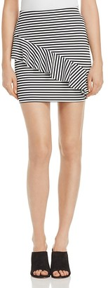 AQUA Stripe Asymmetric-Ruffle Mini Skirt - 100% Exclusive $58 thestylecure.com