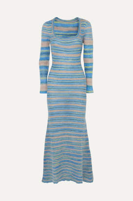 Jacquemus Perou Striped Knitted Maxi Dress - Blue