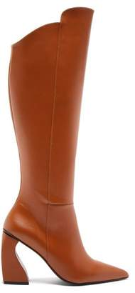 Marques'almeida - Point Toe Leather Knee High Boots - Womens - Tan