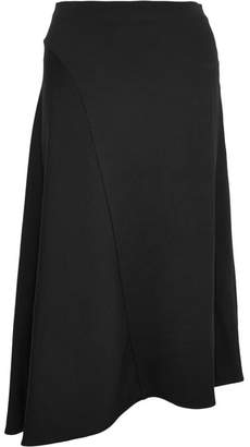 Vince Asymmetric Stretch-crepe Midi Skirt - Black