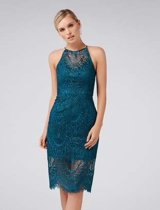 Forever New Nadia Lace Pencil Dress - Teal - 4