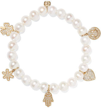Sydney Evan Pearl, Diamond And 14-karat Gold Bracelet