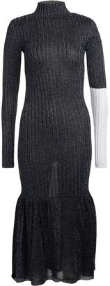 Circus Hotel Gunmetal Lurex Dress With Silver Sleeve.