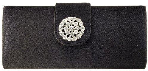 Merona Rhinestone Brooch Box Clutch - Black