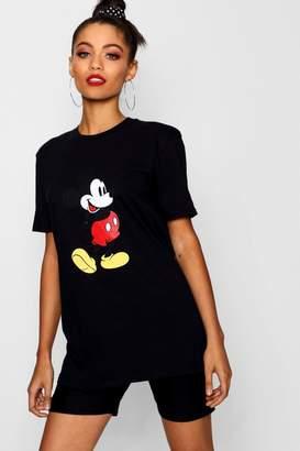 boohoo Disney Mickey Front Print T-Shirt