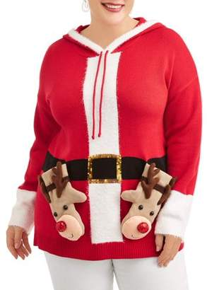 Holiday Time Women's Plus Reindeer Christmas Hoodie