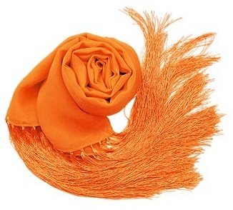 Basile Solid Pure Silk Fringed Long Scarf