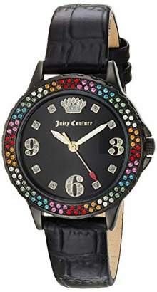 Juicy Couture Label Women's Swarovski Crystal Accented Leather Strap Watch