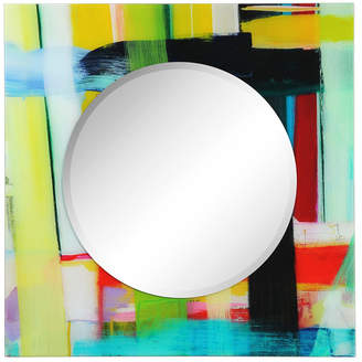 """Empire Art Direct Printed Tempered Art Glass with Round Beveled Mirror Wall Decor 36"""" x 36"""""""