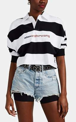 Alexander Wang Women's Striped Cotton Crop Rugby Shirt - Wht.&blk.