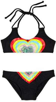 Pilyq Girls' Embroidered Heart 2-Piece Swimsuit - Little Kid, Big Kid