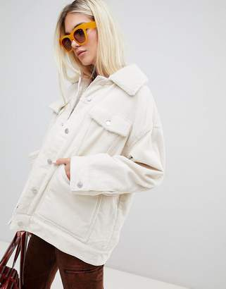 Weekday cord teddy jacket in off white