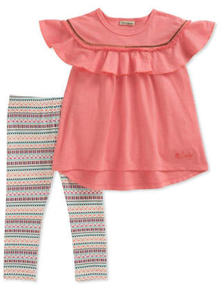 Lucky Brand Two-Piece Ruffle Top and Striped Leggings Set