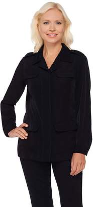 Joan Rivers Classics Collection Joan Rivers Silky Safari Style Jacket with Long Sleeves