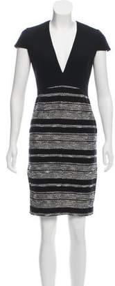 L'Agence Short Sleeve V-Neck Dress