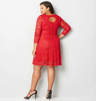 Avenue Back Cutout Lace Fit and Flare Dress