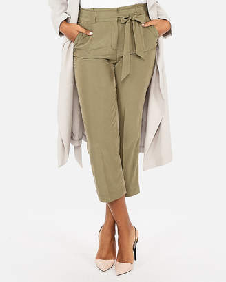 Express High Waisted Sandwashed Sash Waist Cropped Pant