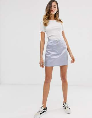 Daisy Street mini skirt with ring pull zip in sparkle fabric
