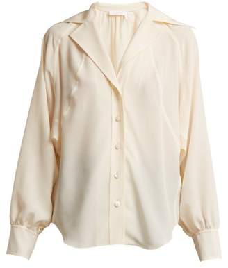 Chloé Open Collar Silk Crepe De Chine Shirt - Womens - Cream