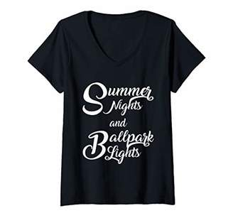 Womens Summer Nights Ballpark Lights Quote Baseball V-Neck T-Shirt