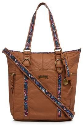 Mantaray Light Tan Floral Inlay Shoulder Bag