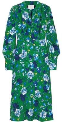 Erdem Ellera Ruched Floral-Print Crepe Midi Dress