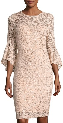 Marina Bell-Sleeve Lace Short Dress, Peach $119 thestylecure.com