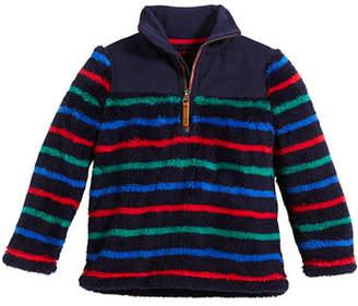 Joules Woozle Striped Half-Zip Fleece Pullover, Size 2-6