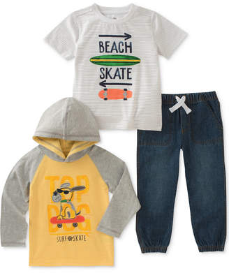 Kids Headquarters 3-Pc. Top Dog Hoodie, Graphic-Print T-Shirt & Jeans, Baby Boys