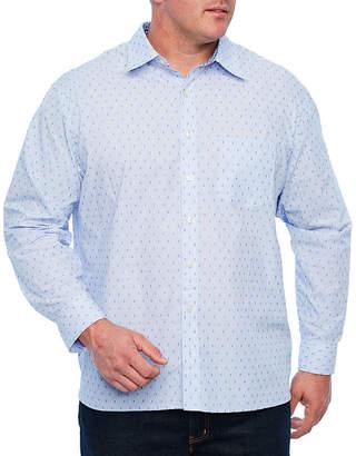 Van Heusen Never Tuck Woven Long Sleeve Dots Button-Front Shirt-Big and Tall