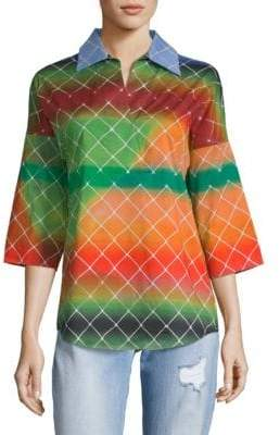Akris Collared Tie-Dye Tunic Top