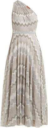 Missoni One-shoulder zigzag knit dress